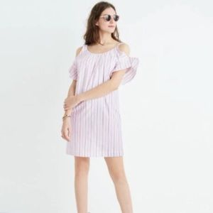 Madewell striped flutter sleeve dress